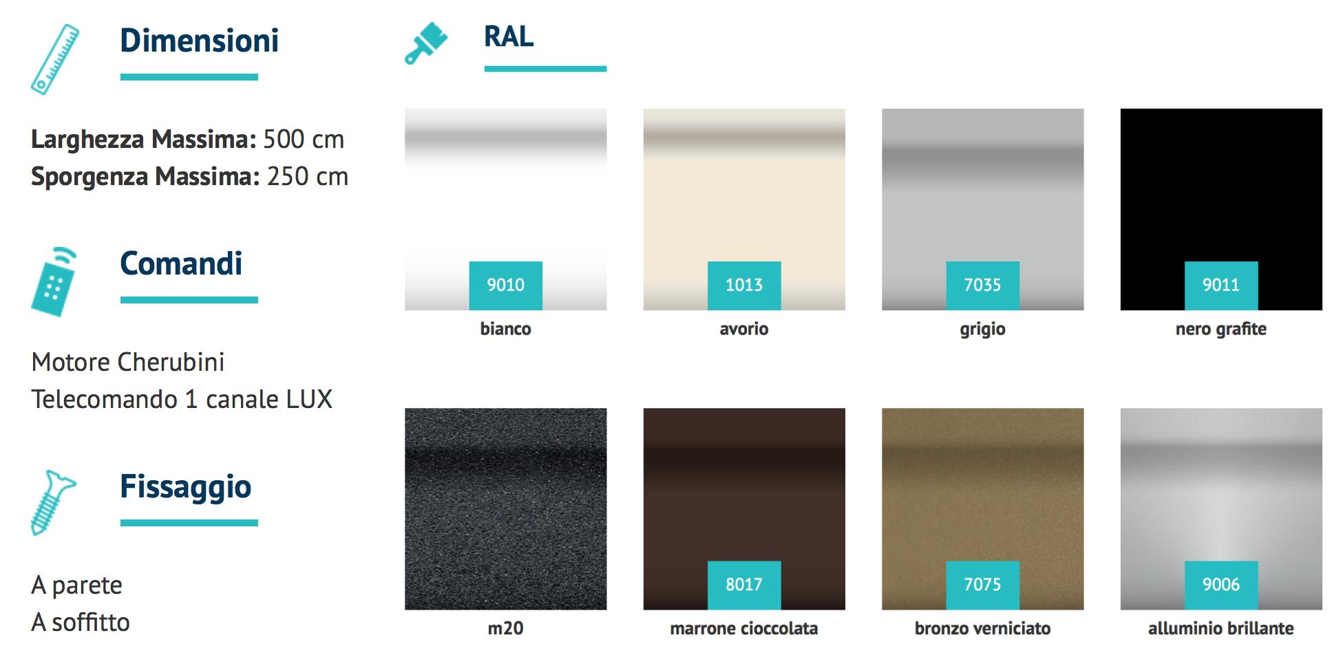 colori tende da sole a bracci separati t rex automatica torino